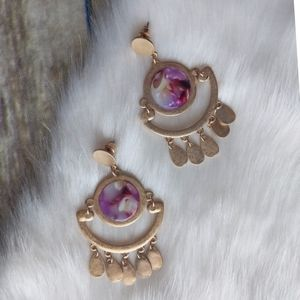 Jewelry - Statement Marbled Gold Tone Dangle Earrings